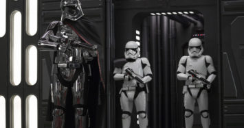 Star Wars: The Last Jedi..Captain Phasma (Gwendoline Christie) and Stormtroopers..Photo: David James..©2017 Lucasfilm Ltd. All Rights Reserved.