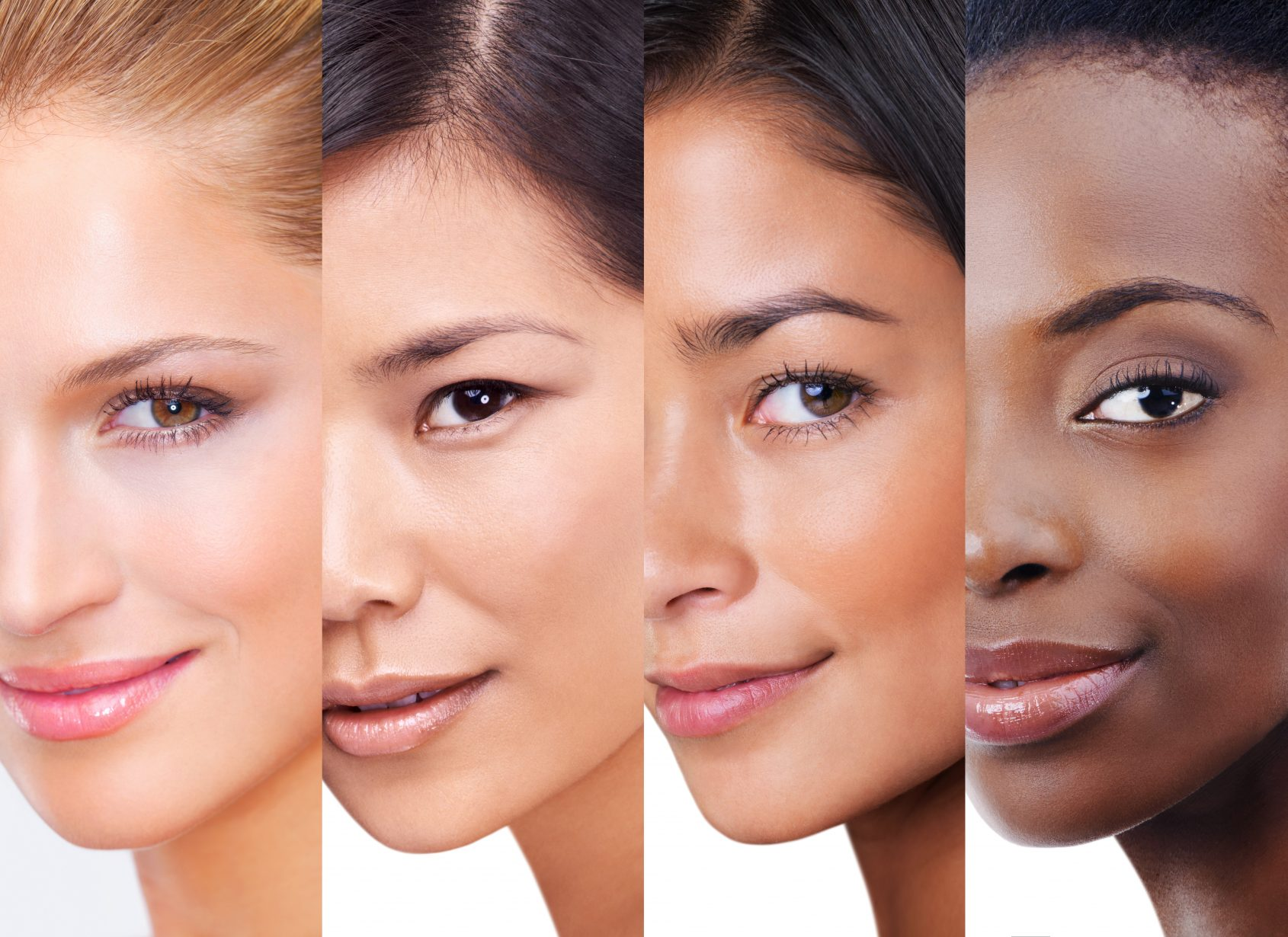 Shot of woman with different skintones superimposed over each other in the studio