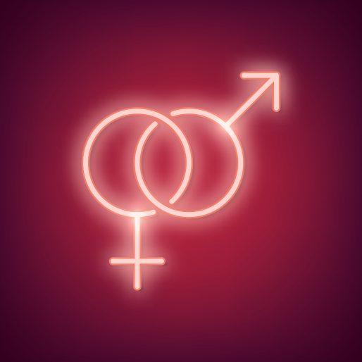 Neon light sex symbol on red background