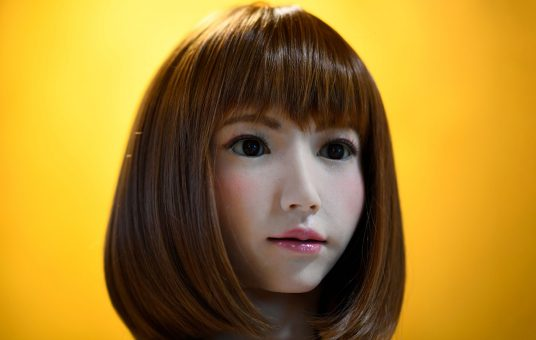 A robot created by Japan's Hiroshi Ishiguro Laboratories called Erica is presented at the IROS 2018 International Conference on Intelligent Robots on October 5, 2018 in Madrid. (Photo by GABRIEL BOUYS / AFP)        (Photo credit should read GABRIEL BOUYS/AFP via Getty Images)
